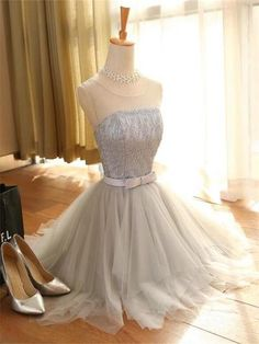 Gray Tulle Homecoming Dress,Junior Scoop Homecoming Dress,Evening Dress, Homecoming Dress ,Prom Dress for Teens,HD1765