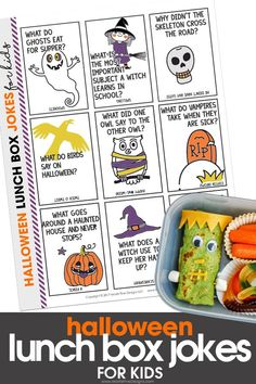 Skip the boring school lunches, pack your kid's lunch with these funny and free printable Halloween Lunch Box Jokes for Kids. Fun for kids of all ages, they will have the whole lunch table laughing! Halloween Lunch Ideas, Creepy Halloween Food, Halloween Jokes, Halloween Treats For Kids, Diy Halloween, Xmas Jokes, Fun Packed Lunch Ideas, Lunchbox Ideas, Kids Lunch Box Notes