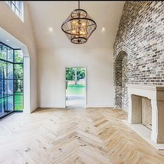 Herringbone oak floors, steel windows, and brick. #RudyColby #MidaniHomes #Houston #CustomHome #furnishing #homedesigner #interiordesign #luxuryrealestate #homedesign #luxury #design #interiordesign #interior #home #decor #homedecor #interiordesignideas #architecture #follow #love #beautiful #architec #arquitecto #arquitectura #casa #dreamhome #design #money #landscape #exterior #lux #lusso