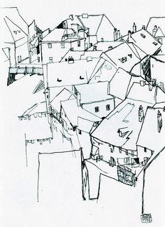 Arc of houses 1914 Egon Schiele