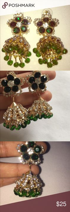 "🆕 Emerald Green Drop Earrings Beautiful green and gold, new from a designer boutique. Will make any outfit dazzle. 3"" long 💕 Jewelry Earrings"