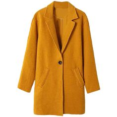 Choies Gamboge Single Button Longline Woolen Coat (£29) ❤ liked on Polyvore featuring outerwear, coats, choies, coats & jackets, jackets, yellow, longline coat, yellow wool coat, woolen coat and yellow coat