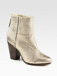 Rag & Bone - Classic Newbury Metallic Crinkle Leather Ankle Boots