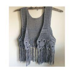 Crochet fringe vest.Knit cardigan.Bohemian wear.Knit