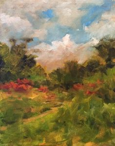path in field sumac painting oklahoma landscape oil canvas  Margaret Aycock #Impressionism