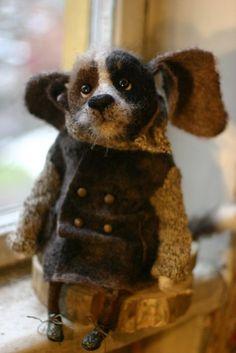 """Képtalálat a következőre: """"katerina kozunenko"""" Fuzzy Felt, Wool Felt, Fabric Animals, Felt Animals, Marionette, Needle Felting Tutorials, Felt Dogs, Textile Fiber Art, Needle Felted Animals"""