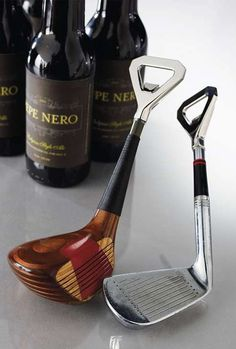 Handcrafted from salvaged golf club heads, these one-of-a-kind Reclaimed Golf Club Bottle Openers bring the spirit and charm of the sport to the 18th hole.