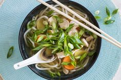 Chicken, mushroom and spring onion miso udon soup – Recipes – Bite