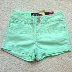 Final Sale! Mint Green Shorts These mid-rise jean shorts are stretchy, soft, and comfortable! Great for this summer season. New and never worn. April Spirit Shorts Jean Shorts
