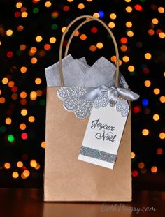 Holiday Gift bag by Beth Pingry for #ajillianvancedesign guest post. Also uses #sbadhesivesby3l and #Stampendous  supplies