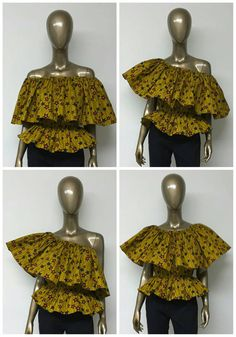 Africain impression Off-Shoulder Top. Peplum. Top par NanayahStudio