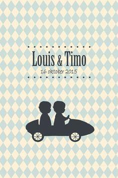 Geboortekaartje Louis en Timo - Pimpelpluis - https://www.facebook.com/pages/Pimpelpluis/188675421305550?ref=hl (# tweeling - jongens - auto - stoer - lief - silhouet - schattig - origineel)