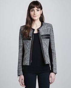 Parker - Hayley Woven Leather-Trim Jacket | Hukkster
