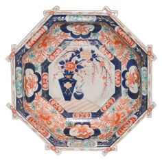 Just as beautiful on the bottom as it is on top! This rare octagon shaped Imari bowl was made in Japan, circa This porcelain bowl was beautifully painted with enamel in jewel tone colors of lapis, coral and jade.Measures: inches wide x inches in height. Modern Decorative Bowls, Decorative Objects, Decorative Boxes, Jewel Tone Colors, Antique Auctions, 19th Century, Bronze, Pottery, Japanese