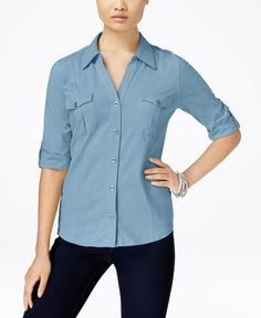 Style & Co Petite Jersey Utility Shirt, Only at Macy's
