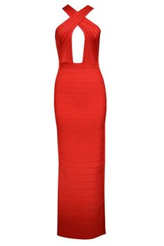 Herve Leger Gown Crisscross Front Open Back Bandage Red Dress