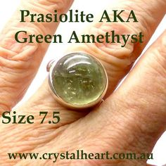 Prasiolite Ring | High Dome Oval Cabochon | 925 Sterling Silver | AKA Green Amethyst | Natural Unheated | Crystal Heart Melbourne Australia since 1986