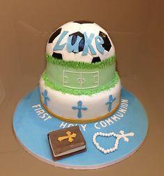 Cakes: Football communion cake.  The Cake Lab Bakery, Ranelagh, Dublin, Ireland. Artisan Baking Studio.
