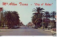 1950's CARS MCALLEN TEXAS STREET SCENE POSTCARD