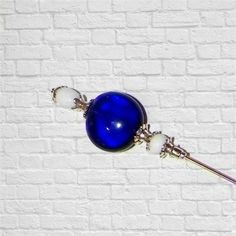 White Silver Gold Blue Hat Pin Victorian Edwardian Vintage Style Glass
