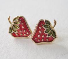 Vintage 1979 Retro Kitsch Signed Avon Glazed Strawberries Goldtone Red Green Enamel Stud Earrings in Original Box NIB by ThePaisleyUnicorn, $8.00
