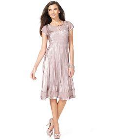 SL Fashions Dress, Short Sleeve Crinkled Satin - Dresses - Women - Macy's