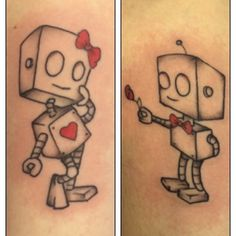 His and her robot tattoos by Travis Allen at twisted tattoo Yaxley  Www.twistedtattoo.co.uk