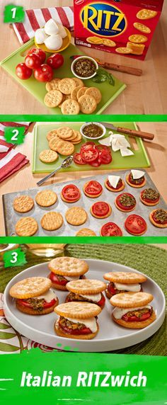 These savory Italian RITZwiches really take advantage of fresh tomatoes when they are at their ripest in summer. Simply top RITZ Crackers with tomatoes, pesto and mozzarella and bake. Give them a try this Father's Day.