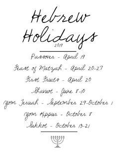 Hebrew Holiday dates for 2019 - traditional calendar Biblical Hebrew, Hebrew Words, Hebrew Quotes, Jewish Holiday Calendar, Yom Teruah, Black Hebrew Israelites, Messianic Judaism, Jewish Celebrations, Hebrew School