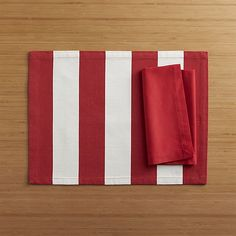 Olin Red Placemat and Fete Cherry Cotton Napkin  | Crate and Barrel