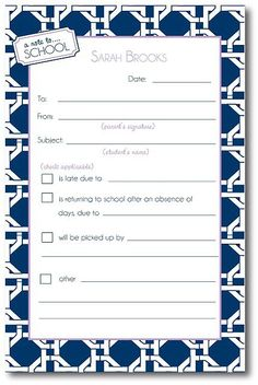 When Students Are Absent Parents Just Fill In This Template