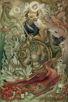 Wheel of Fortune by Heather Watts for Lowbrow Tarot. The deck itself is majors-only. It's also compiled anthology-style with works from a number of artists, including works that really don't speak to me. This Wheel, though, I love.