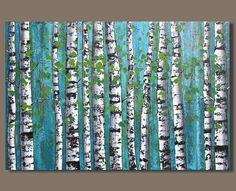 Birch Trees Painting, Birch Tree Art, Abstract Tree Painting, Forest Painting, Tree Artwork, Tree Wall Art, Landscape Art Quilts, Landscape Paintings, Small Canvas Art