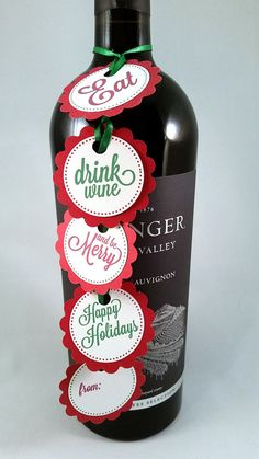 Christmas/Holiday Wine Tags  Decorative tags/Gift by LittleFaceGC