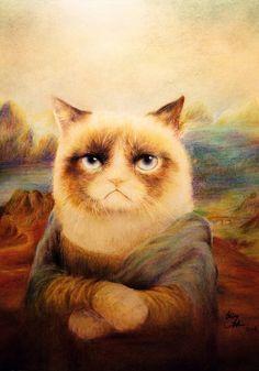 Grumpy Cat as Mona Lisa, 'La Gioconda' by Clare Zhao, pop art