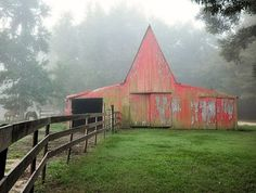 red weathered barn