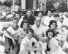 The Kennedy Family at Edon Roc. Back row: Kathleen, Joe Jr, Rosemary, Rose and Teddy. Middle row: Jack, Eunice, Joe and Pat. Front row: Bobby and Jean. Cannes, August 1939