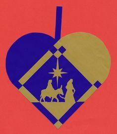 Christmas heart with Joseph and Mary Danish Christmas, Family Christmas Ornaments, Nativity Ornaments, Christmas Hearts, 3d Christmas, Christmas Paper Crafts, Christmas Time Is Here, Handmade Christmas Decorations, Scandinavian Christmas