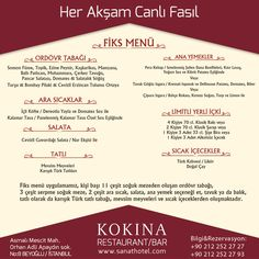 Eşsiz menüsü ve her akşam Canlı Fasıl keyfiyle Kokina Restaurant, mükemmeli arayanların tercihi.  #SanatHotel #Taksim #Beyoğlu #Pera #otel #hotel #Asmalımescit #İstanbul #Galata #Tünel #konaklama #Kokina #restaurant #bar #fasıl