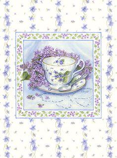 les meli melo de mamietitine - Page 6 Tea Room Decor, Coffee Cup Art, Etiquette Vintage, Vintage Cups, Tea Art, Decoupage Paper, Vintage Pictures, Watercolor Illustration, Vintage Flowers