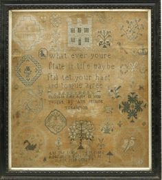 An 'Adam and Eve' sampler, decorated with building, birds and flowers and inscribed 'What ever youre state in life maybe still let your hart and tongue agree', by Elizabeth Eden, aged 15. 1800 taught by Ann Jenkins, Tredington. 'And the Lord God planted a garden in Eden where he put man' 41 x 35cm (M)
