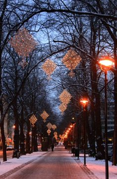 'Himmeli' Christmas ornaments as lights in Kotka, Finland