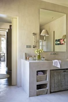 stuc in de badkamer, vloer, wand en wastafel