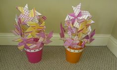 Pin wheels centerpiece for kids table