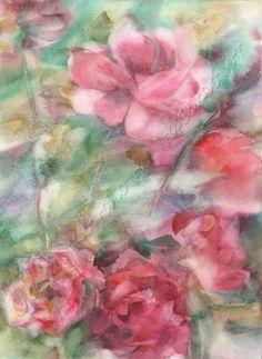 Watercolor flowers print Windy Roses