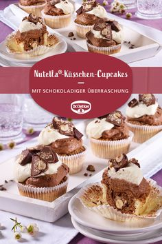 Nutella Kisses Cupcakes: Surprise Inside Muffins with Nutella and Ferrero Kisses The post Nutella-peck cupcakes appeared first on Win Dessert. Nutella Cupcakes, Nutella Muffins, Keto Donuts, Nutella Recipes, Donut Recipes, Cupcake Recipes, Dessert Recipes, Cheesecake, Puff Pastry Recipes