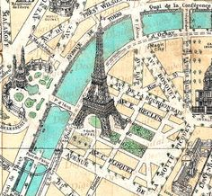 Map Champ De Mars France French Paris Eiffel by DigitaIDecades