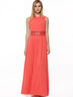c3f60974df5 Buy Ax Paris Coral Chiffon Embellished Maxi Dress for Girls Online in India