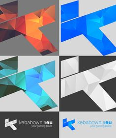 kebabownia.eu logo (four color variants - for light and dark background) with lowpoly texture