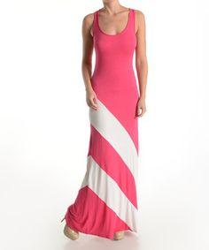 Look at this #zulilyfind! Fuchsia & White Color Block Maxi Dress by 42POPS #zulilyfinds